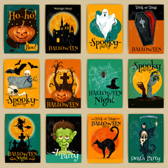 Complete set of retro posters for Halloween party
