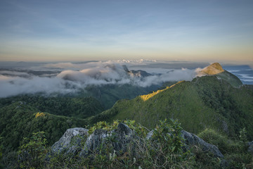Mountain peak in the mist, Scenic landscape at Doi Luang Chiang Dao in Chiang Mai, Thailand.