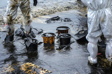 Workers remove crude oil from a beach