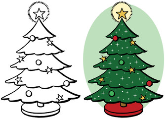 Decorated Christmas tree icon