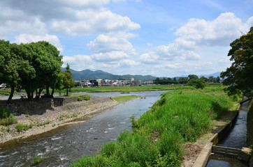 View landscape of Togetsukyo Bridge across the Oi River at Arash