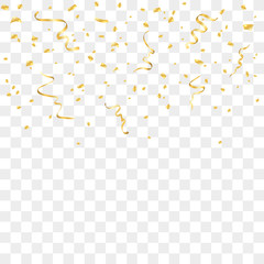 Gold confetti celebration isolated on transparent background. Falling golden abstract decoration for party, birthday celebrate, anniversary or event, festive. Festival decor. Vector illustration