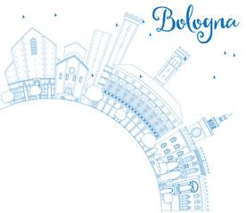 Outline Bologna Skyline with Blue Landmarks and Copy Space.