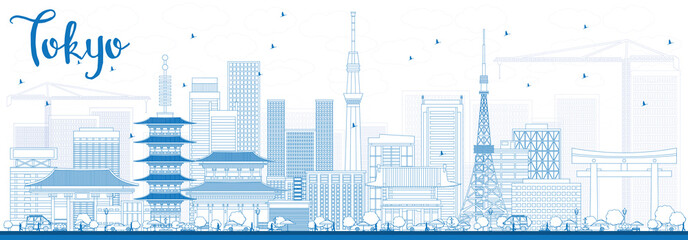 Outline Tokyo Skyline with Blue Buildings.