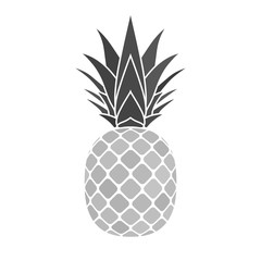 Pineapple silver icon. Tropical fruit isolated on white background. Symbol of food, sweet, exotic and summer, vitamin, healthy. Nature logo. Flat concept. Design element Vector illustration