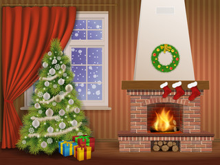 Christmas interior with fireplace and pine tree, decorated christmas balls and wreath. Vector illustration.