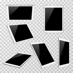 White vector tablet at different angles of view isolated on transparent plaid background