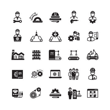 Engineering manufacturing industrial vector icon set