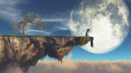 Man on the edge of a cliff Wall mural