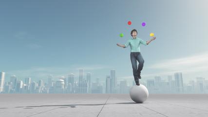 Man juggles the ball in balance