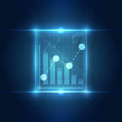 Technology interface stock chart concept background. vector illustration