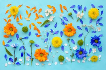 Flower still life, flat lay