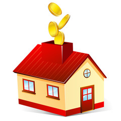 moneybox house on white background