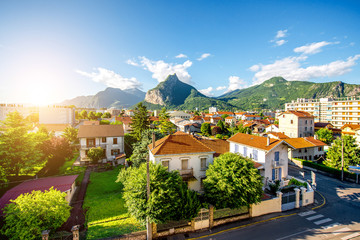 Beautiful cityscape view on the old residential district with mountains in Grenoble city on the east of France Wall mural