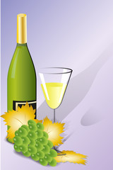 White wine, glass and green grape