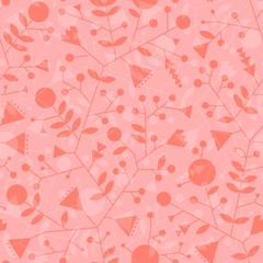 Розовый бесшовный фон с силуэтным узором из декоративных стилизованных растений.