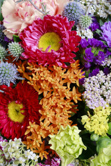 Flower background with chrysanthemum flowers and achillea twigs.