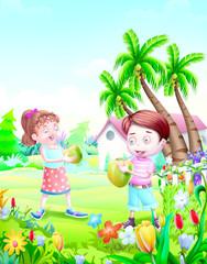 Deurstickers Boerderij Kids drink coconut water