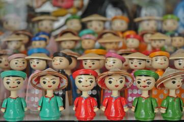 Vietnamese wooden traditional dolls in Hanoi