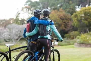 Biker couple with mountain bike