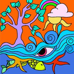 Spoed Foto op Canvas Klassieke abstractie vector tree with pink