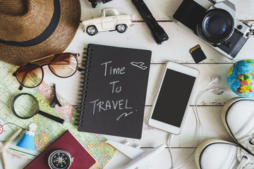 Traveler's accessories and items with black notebook and copyspa