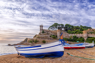 the medieval fortress town of Vila Vella in Tossa de Mar, Spain