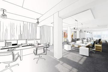 Büroarchitektur (Zeichnung) Fototapete