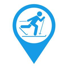 Icono plano localizacion esqui de fondo azul