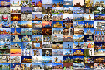 Europe attractions. collage