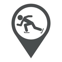 Icono plano localizacion patinaje sobre hielo gris
