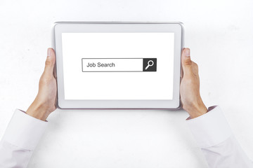Hand with tablet and job search box
