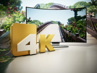 4K Ultra HD television. 3D illustration
