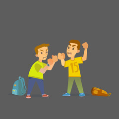 Boys fighting and getting hurt illustration.