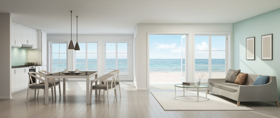 Wall Mural - Sea view living room, dining room and kitchen, Beach house - 3D rendering
