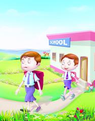 Two boys outside school