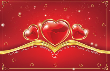 Red greeting card with hearts background. Print colors used; Space for your own message.