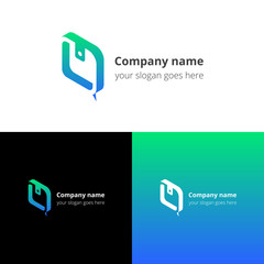 Logo purse-chat. Logotype with wallet and chat vector template design. Color gradient sign, symbol, icon. Concept logo for business, chatting, community, bank company.