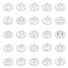 Vector cartoon hand drawn Halloween Pumpkin
