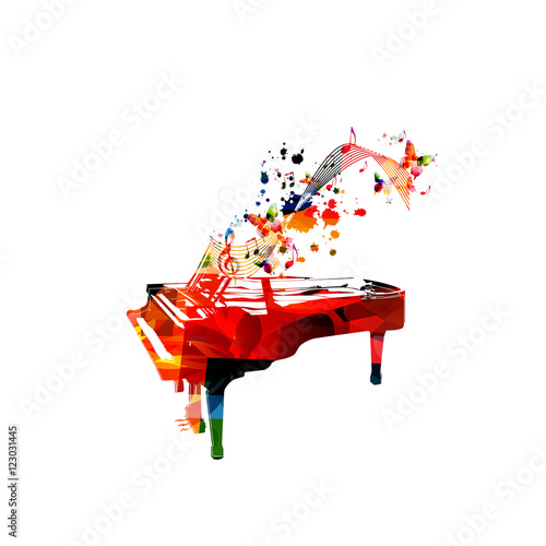 Creative music style template vector illustration, colorful piano