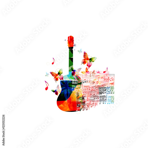 Creative Music Style Template Vector Illustration Colorful Guitar Instrument With Staff And