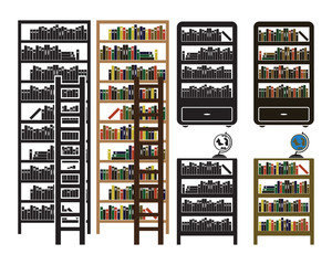 Vector bookshelf icons set - black and colored variations