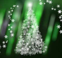 Christmas or new year pattern ,white snowflakes christmas tree at the green abstraction background