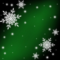 Christmas or new year pattern ,white snowflakes on the green and black background