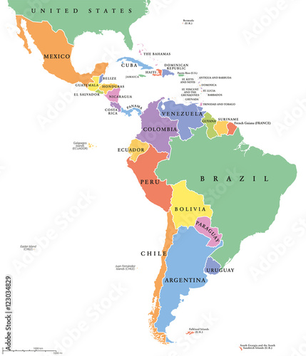 Latin America single states political map. Countries in different ...
