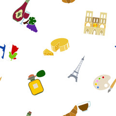 Seamless pattern with  french icons  for your design