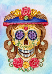 Skull art day of the dead.Art skull head smiley face day of the dead festival hand color painting on paper.