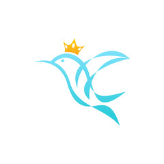 Stylized Hummingbird Crown Logo Icon
