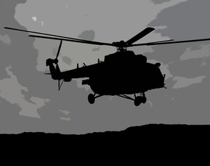 Illustration of flying MI-17 helicopter in the gray cloudy sky