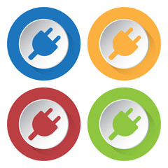 set of four icons - electrical plug symbol